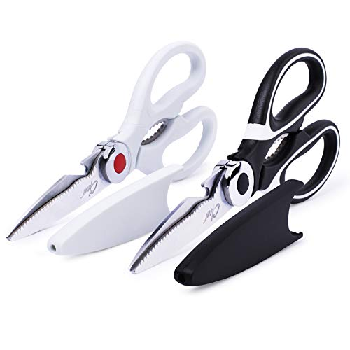 Kitchen Shears By Clear Style, Set of 2, Multipurpose Stainless Scissors-Steel Cooking Shears, Dishwasher Safe, Perfect For Preparing Beef, Chicken, Vegetables, Fish, and More, Black and White