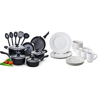 Cook N Home 15-Piece Nonstick Stay Cool Handle Cookware Set, Black & AmazonBasics 16-Piece Kitchen Dinnerware Set, Plates, Bowls, Mugs, Service for 4, White