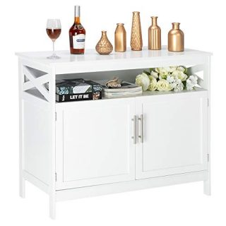 Bonnlo Sideboard Buffet Storage Cabinet Kitchen Storage Buffet White Dining Buffet Modern Storage Sideboard with Open Shelf