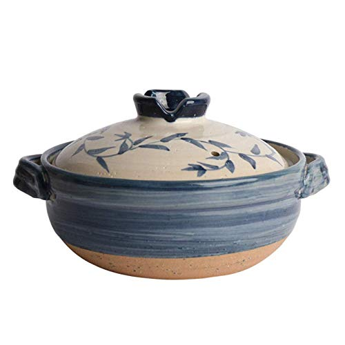 Casserole Dish with Lid Cast Health Oven Casserole Pans Kitchen Clay Slow Cooker Healthy Casserole With Lids, Stock Pots Can Be Used For Open Flame Kitchens,Blue-1.6L ( Color : Blue , Size : 1.2L )