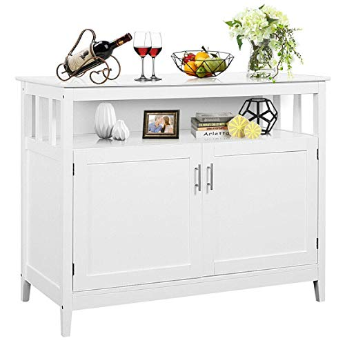 Costzon Kitchen Storage Sideboard Dining Buffet Server Cabinet Cupboard, Free Standing Storage Chest with 2 Level Cabinets and Open Shelf, Adjustable Middle Shelf for Home, Dining Room (White)