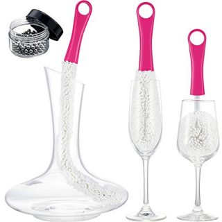 3 Pieces Wine Decanter Cleaning Brush Flexible Bottle Scourer with Stainless Steel Decanter Cleaning Balls Multi-Function Household Cleaning Tools for Goblets/Champagne Flutes/Cups/Glasses (Rose)