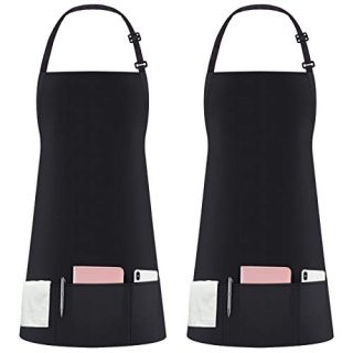 Syntus 2 Pack 3 Pockets Adjustable Bib Apron Thicker Version Waterproof with Extra Long Ties Cooking Kitchen Aprons for BBQ Drawing, Women Men,Chef, Black