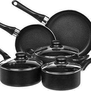 AmazonBasics Non-Stick Cookware Set, Pots and Pans - 8-Piece Set