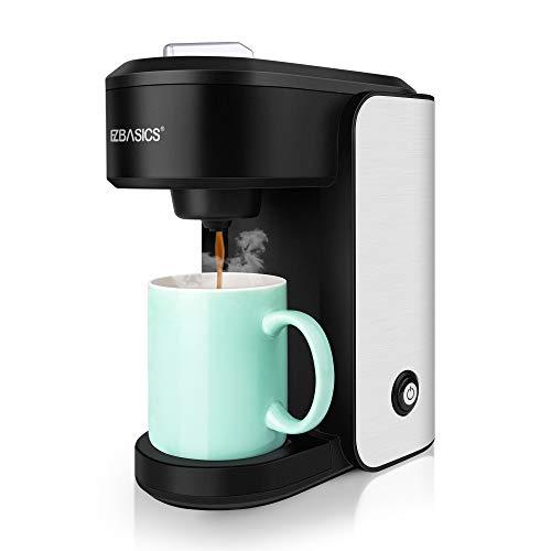 EZBASICS Single Serve Coffee Maker, K Cup Coffee Machine, Mini Coffee Brewer, Black, Single Cup Coffee Maker with Visual Water Reservoir