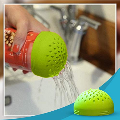 Sagton Micro Kitchen Colander,Portable Multi-use Mini Colander,Quick Draining Mini Can Drainer, Colander Strainer for Drain Chickpeas, Kidney Beans and Tinned Fruit Food (Green)