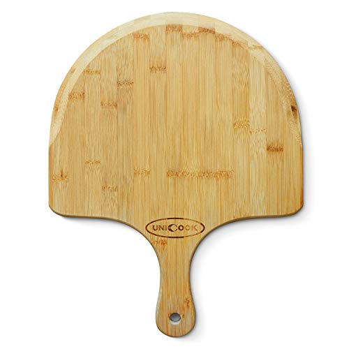 """Unicook Bamboo Pizza Peel, Premium Pizza Paddle Spatula, Tapered Cutting Board with Handle for Baking Serving Homemade Pizza, Bread in Oven and Grill, Essential Kitchen Tools, 17.5""""L x 11""""W"""