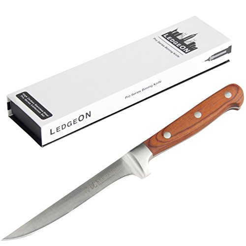 """LedgeON 6"""" Professional Boning Knife - Pro Series - High Carbon Stainless Steel Blade - Wood Handle"""
