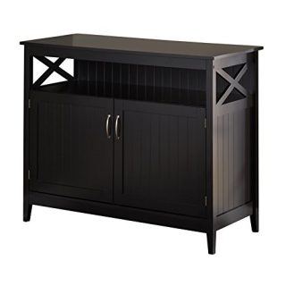Target Marketing Systems Southport Collection Contemporary Storage Buffet With Two Cabinets and Shelf for Storage, Black