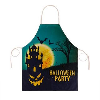 Hohomark Halloween Cooking Apron Halloween Party Castle Decorations Apron Scary Monster Face Bats Baking BBQ Apron Adjustable Kitchen Aprons for Women Men