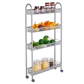 KASPURO 4 Tier Mesh Wire Rolling Cart, Kitchen Storage Cart with Lockable Wheels, Steel Wire Basket Shelving Trolley, Easy Moving