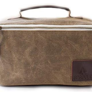 Lunch Box for Adults, Men, Women, Kids   Insulated Cooler Bag   Waxed Canvas and Genuine Leather   Reusable, Eco Friendly   Stylish, Classic Look (Alpine Green)