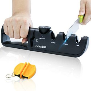Adjustable Manual Knife Sharpener, Professional 4 in 1 kitchen knife Sharpening Kit, Ceramic Diamond Steel Scissor Blade sharpeners