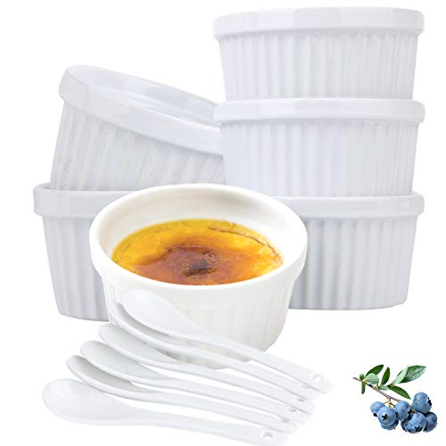 Souffle Dish Ramekins for Baking – 4 Ounce (6 PACK, White with 6 Extra Spoons) 4 Oz, Half Cup Ceramic Oven Safe Round Ramekin Bowls for Condiments Sauces Dips Dressings Desserts Puddings Custards Cups