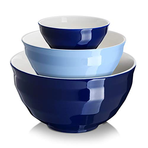 DOWAN Ceramic Mixing Bowls for Kitchen, Size 4.25/2/0.5 Qt Large Serving Bowl Set, Microwave and Dishwasher Safe, Sturdy & No Scratch, Nesting Bowls for Space Saving, 3-Piece Set, Blue