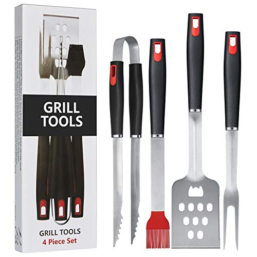 Homissor Heavy Duty BBQ Grilling Tools Set, Stainless Steel Spatula, Fork, Basting Brush&Tongs, Grill Tools Kit for Barbecue, Grill Utensils Accessories, Gift Box Package