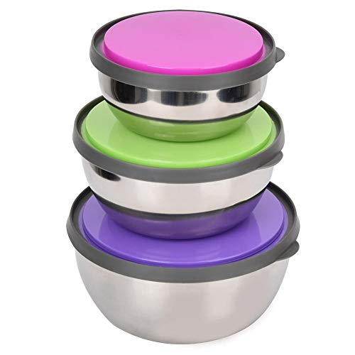 HERCHR 3Pcs Stainless Steel Mixing Bowls with Lids Food Storage Container Kitchen Tool
