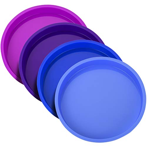 Uarter 8 Inch Cake Pan, Rainbow Cake Tins, Silicone Round Cake Mould Set, 4 Pieces Non-Stick Baking Tins for Vegetable Pancakes Pizza Crust Omelet