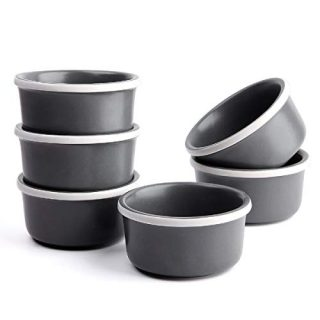 FE Porcelain Ramekin Bowls 7.5oz, Ceramic Souffle Dishes Dessert Cups for Baking and Cooking, Set Of 6 (Dark Grey)