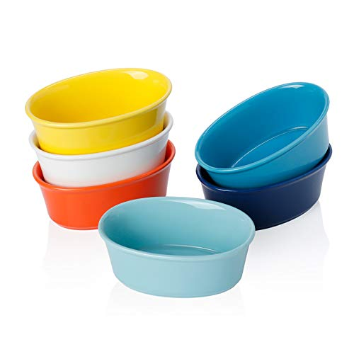 Sweese 506.002 Porcelain Ramekins 6 Ounce Souffle Dishes, Oval Ramekins for Baking, Set of 6, Hot Assorted Colors