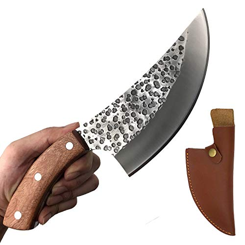 KOPALA Boning Knife with Sheath handmade Multipurpose Cleaver Kitchen Knives for BBQ, Camping, Grill High Carbon Stainless Steel 6.3-inch