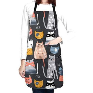 Women Cute Cat Apron Adjustable Neck Kitchen