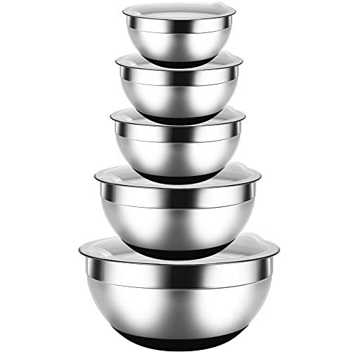 REGILLER Stainless Steel Mixing Bowls with Lids (Set of 5), Nesting Bowls Black Non-Slip Silicone Bottoms Great for Mixing, Baking, PreppingGreat for Mixing, Baking, Prepping