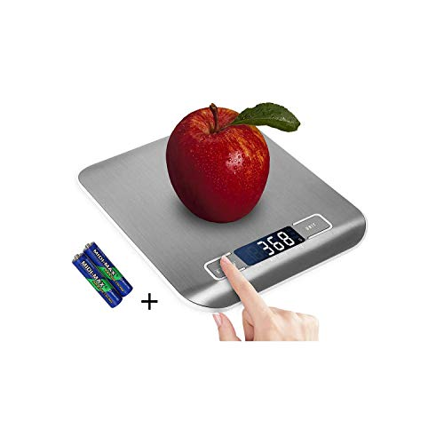 Digital Kitchen Scale,Food Scale for Meat Baking Weighter,Unit Gram OZ lb Up 11 lb(1g-5KG),Silver Stainless Steel Anti-Fingerprint with Accuracy LCD Display for Cooking Black(Include AAA Battery)