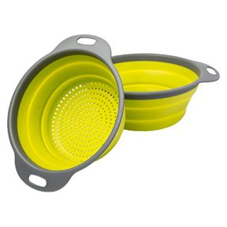 "Colander Set - 2 Collapsible Colanders (Strainers) Set By Comfify - Includes 2 Folding Strainers Sizes 8"" - 2 Quart and 9.5"" - 3 Quart Green and Grey"