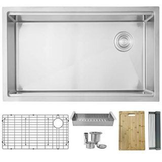 "33""L x 19""L Single Bowl Undermount 16G Kitchen Ledge Workstation Sink with Grid, Luxury Basket Strainer, Drying Rack, Colander and Bamboo Cutting Board, S-613W VERSA33 (33 x 19 inch)"