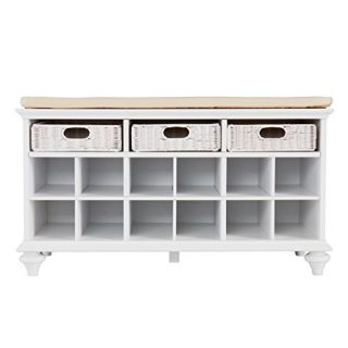 Chelmsford Entryway Storage Bench - Shoe Cubbies w/ Fixed Shelves - White Finish