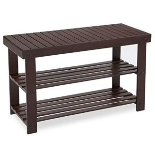 SONGMICS 3-Tier Bamboo Shoe Rack Bench, Shoe Organizer Shelf, Holds Up to 264 lb, Brown