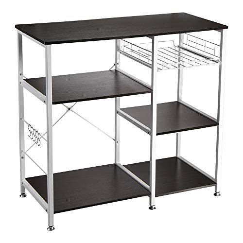 "VANSPACE Industrial Kitchen Baker's Rack Utility Storage Shelf Microwave Stand 3-Tier + 3-Tier Kitchen Storage Cart Table for Spice Rack Organizer Workstation with 5 Hooks - 35.5"" Black Walnut"