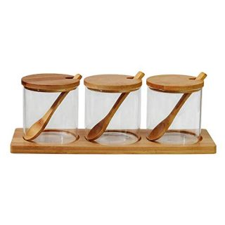 XSMNER Glass Condiment Container Seasoning jars,Canisters Sets for Kitchen Serveware,Glass Jars With Bamboo Lids and Wooden Spoons,Set Salt Sugar Spice Pepper with 3 Container Set