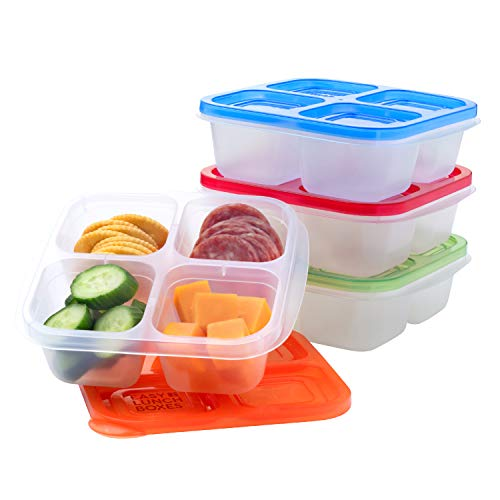 Bento Snack Boxes - Reusable 4-Compartment Food Containers