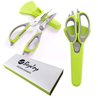 BeyJoy Detachable Multi-function Heavy Duty Kitchen Scissors Magnetic protective sleeve Cutting Chicken bone Can/Bottle opener Nut cracker clip