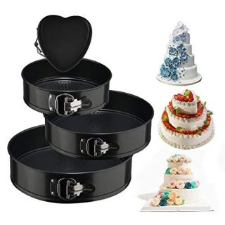 "Springform Cake Pan 4 Pieces (4""/7""/9""/10"") 1 Heart and 3 Round,Leakproof Nonstick Bakeware Cheesecake Pan with Removable Bottom"