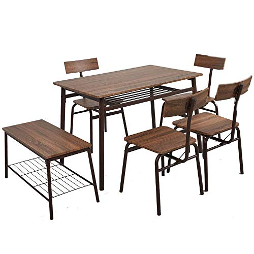 6-Piece Kitchen & Dining Room Sets -1 Table, 4 Chairs & 1 Bench