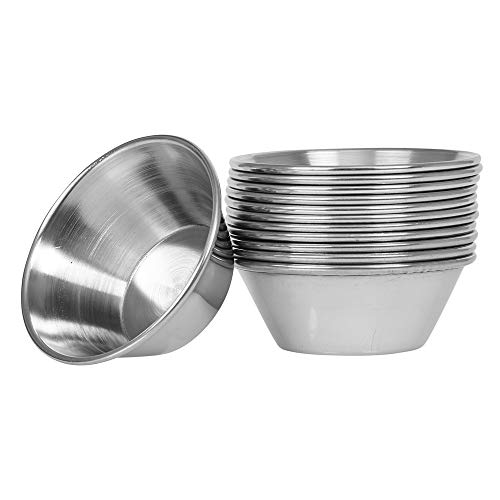 (12 Pack) Small Sauce Cups 1.5 oz, Commercial Grade Stainless Steel Dipping Sauce Cups, Individual Condiment Cups / Portion Cups / Ramekins by Tezzorio