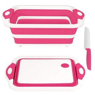 Rottogoon Collapsible Cutting Board, Foldable Chopping Board with Colander, Multifunctional Kitchen Vegetable Washing Basket Silicone Dish Tub for BBQ Prep/Picnic/Camping(Pink)