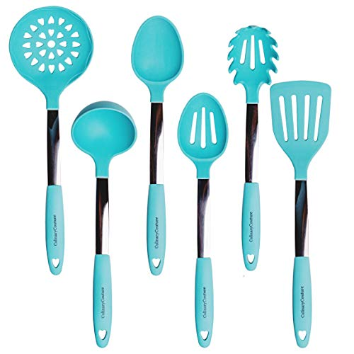 Turquoise Kitchen Utensil Set - Stainless Steel & Silicone Heat Resistant Professional Cooking Tools - Spatula, Mixing & Slotted Spoon, Ladle, Pasta Fork Server, Drainer - Bonus Ebook!