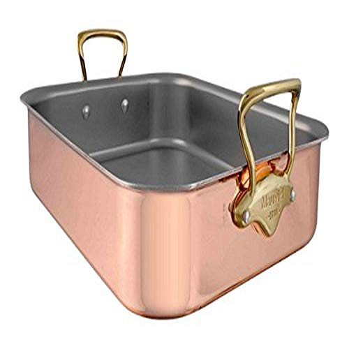 """Mauviel M'Heritage M150B Copper Tri Ply 20/70/10 15.7"""" x 11.8"""" Roaster With Rack, Bronze Handle"""