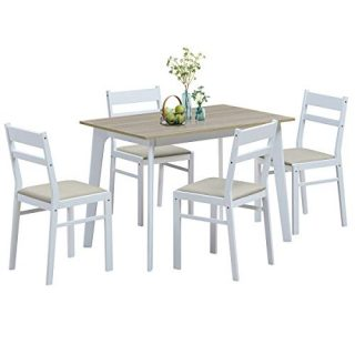 Giantex 5 Piece Dining Table Set with 4 Chairs, Wood Home Kitchen Dinette Set for 4 Person, Modern Dining Table Set with Wooden Table-Top and 4 Padded Seat Chairs