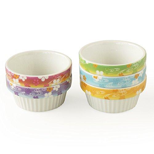 Cinf Porcelain Ramekins Floral 4 oz. Baking Pudding Bowls Dishes Soufflé Cups Dishes, Creme Brulee, Custard Cups, Desserts Set of 5,Oven,Microwave,Freezer and Dishwasher Safe …