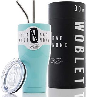BAR NONE Woblet | 30 oz Stainless Steel Tumbler Vacuum Insulated Rambler Coffee Cup Double Wall Travel Flask Mug Insulated Stainless Steel Coffee Cup with Lid, 2 Straws, GiftBox (Fifth Avenue Blue)