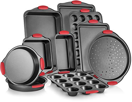 Perlli 10-Piece Nonstick Carbon Steel Bakeware Set With Red Silicone Handles    Metal, Reusable, Quality Kitchenware For Cooking & Baking Cake Loaf, Muffins &More   Non Stick Kitchen Supplies