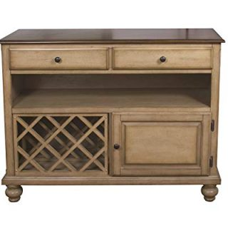 Sunset Trading Brook Buffet Server, Two Drawers | Open Shelf | |, Distressed light creamy wheat with warm pecan top