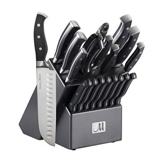 19-Piece Premium Kitchen Knife Set With Wooden Block | Master Maison German Stainless Steel Cutlery With Knife Sharpener & 8 Steak Knives (Gray)