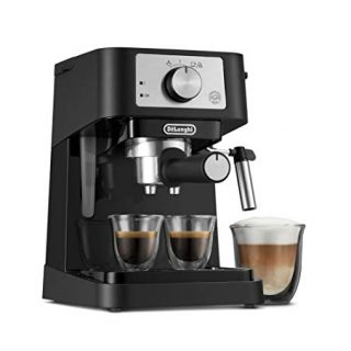 De'Longhi Stilosa Manual Espresso Machine, Latte & Cappuccino Maker, 15 Bar Pump Pressure + Manual Milk Frother Steam Wand, Black / Stainless, EC260BK