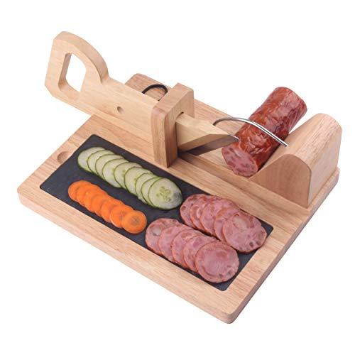 Premium Sausage Salami Guillotine Slicer- Rustic Wooden